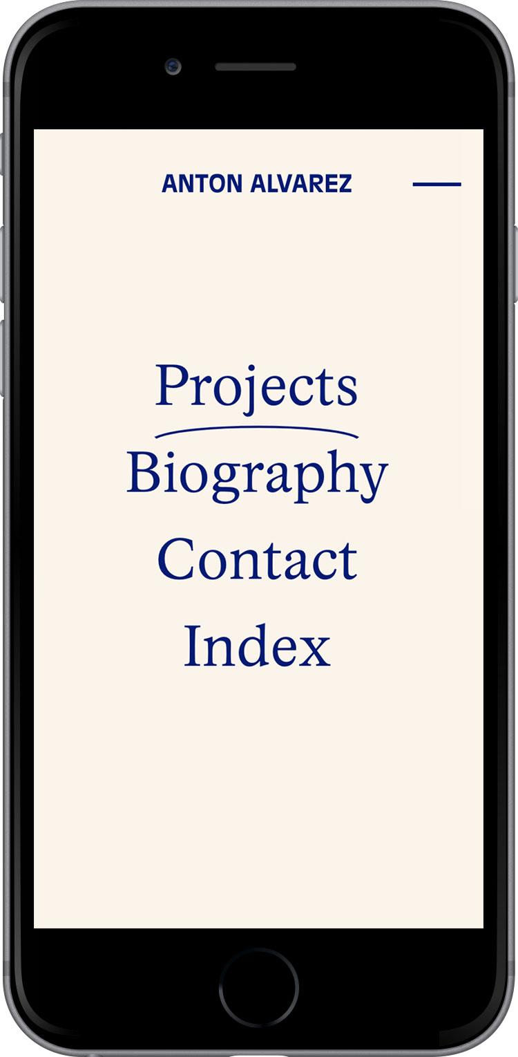 Anton Alvarez website on phone, design by Ekstra