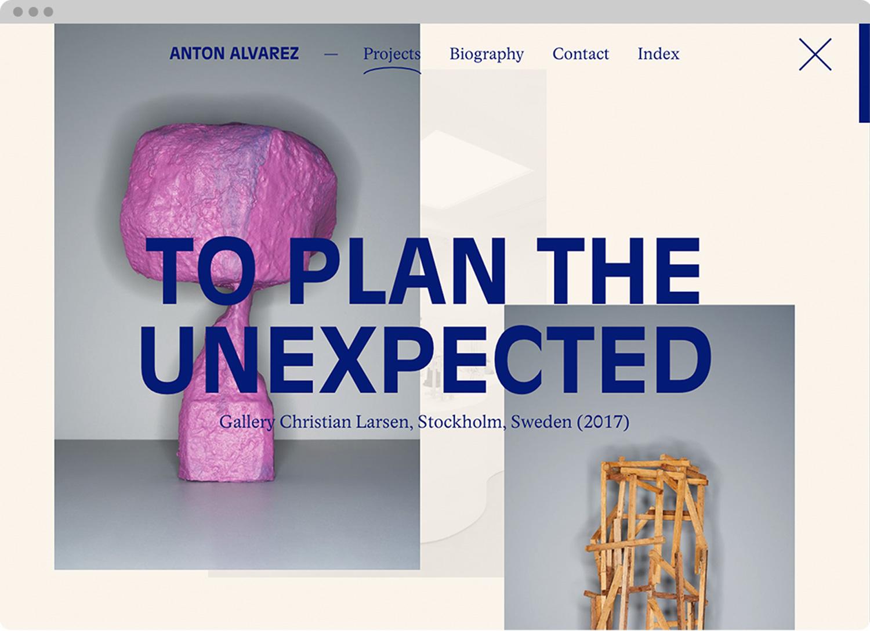 Anton Alvarez website, design by Ekstra