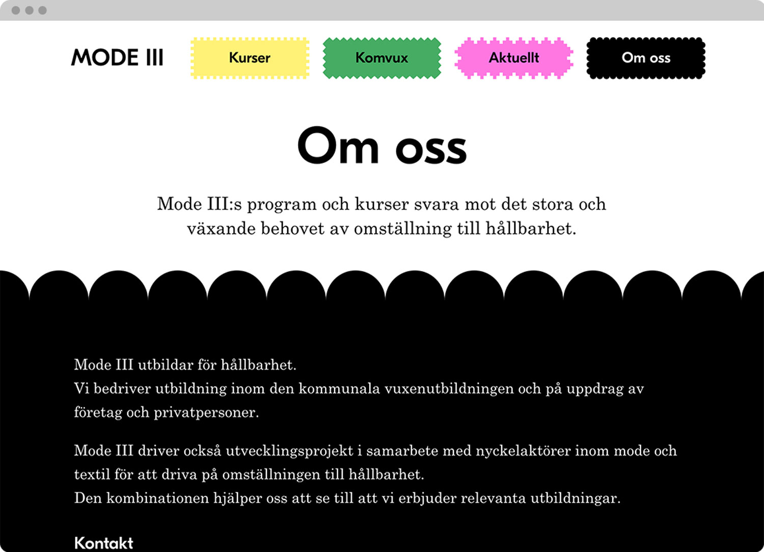 Mode III website, design by Ekstra