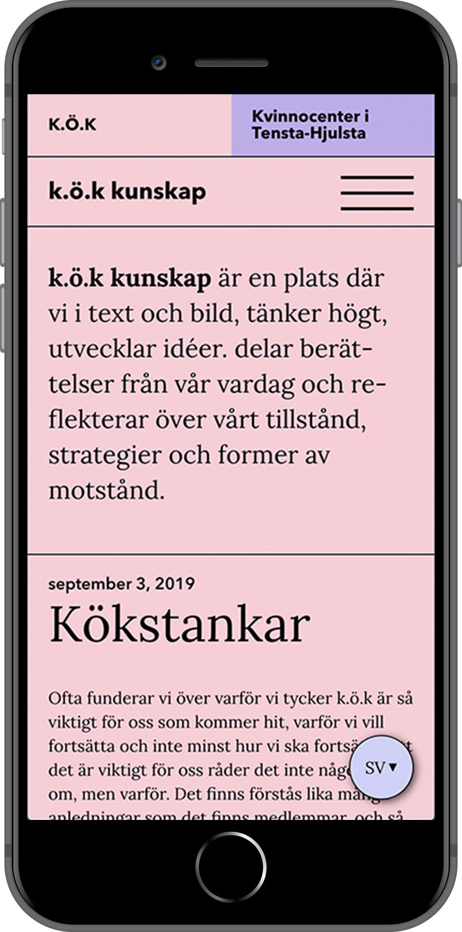 Kvinnocenter i Tensta-Hjulsta and K.Ö.K, website on phone